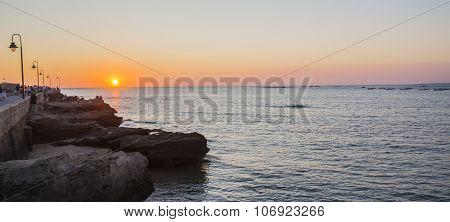 Sunset Over Castle Saint Sebastian, Caleta Beach, Cadiz, Spain