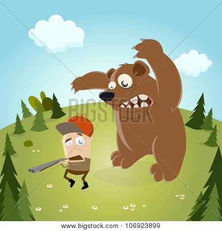 funny cartoon hunter with bear in the background