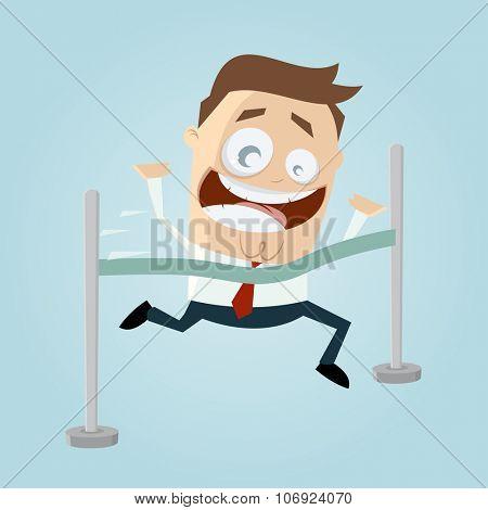 funny cartoon man reaching finishing line