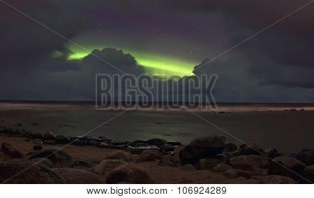 Northern lights, lake Ladoga ,Russia