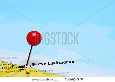 Fortaleza pinned on a map of Brazil