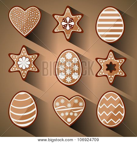 Easter Decorated Gingerbread Cookies, Vector