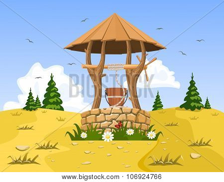 A Well With Pure Natural Water. Vector