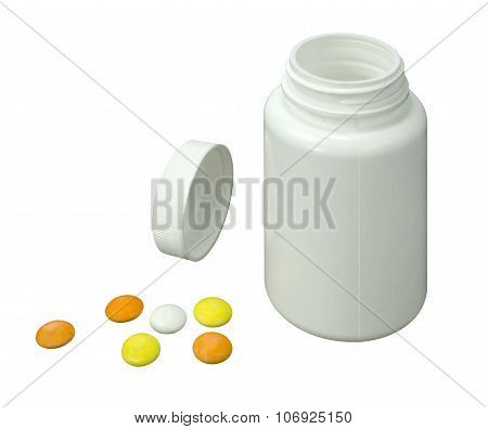 Six Pills Of A Different Colors With White Jar