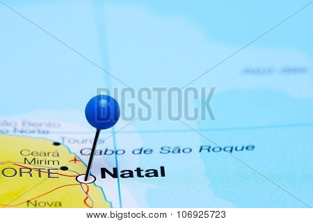 Natal pinned on a map of Brazil