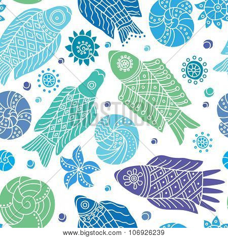 Decorative seamless background pattern with white contour drawing of fishes and shells. Textile and wallpaper sea background.