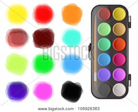 Watercolors And Color Splotches On White Background