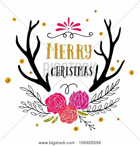 Merry Christmas And Happy New Year Retro Poster With Hand Lettering And Antlers