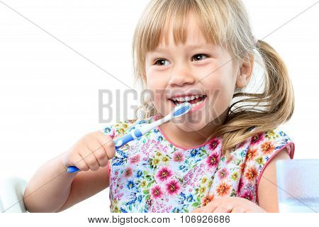 Cute Five Year Old Brushing Teeth.