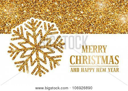 Luxury Christmas and New Year greeting card with golden glitter texture, space for your text and gold snowflake on white background. Vector illustration.