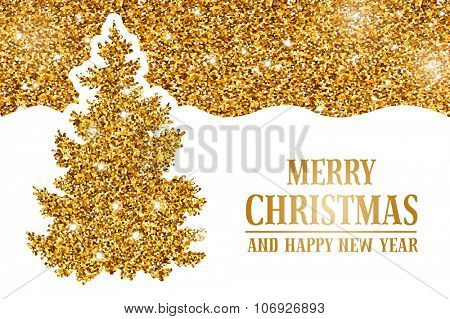 Luxury Christmas and New Year greeting card with golden glitter texture, space for your text and gold Christmas tree on white background. Vector illustration.