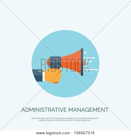 Flat loudspeaker icon. Administrative management concept. Business aims and solutions.