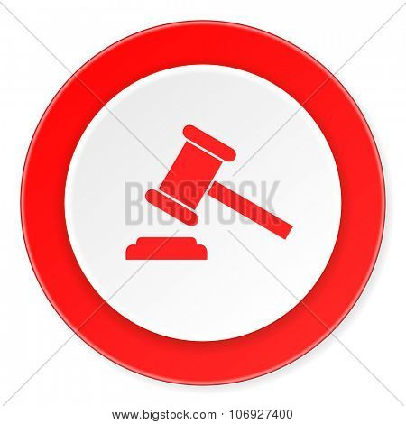 auction red circle 3d modern design flat icon on white background