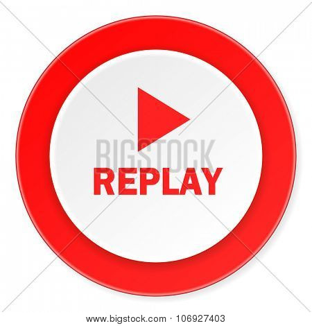 replay red circle 3d modern design flat icon on white background