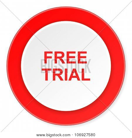 free trial red circle 3d modern design flat icon on white background