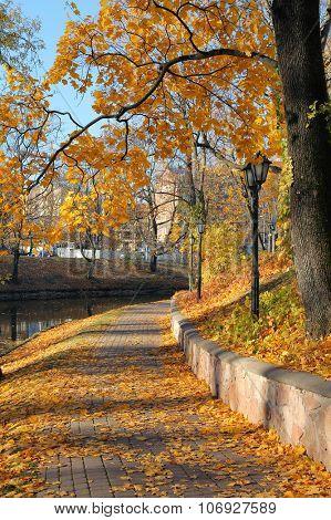 Autumnal park in Riga, Latvia