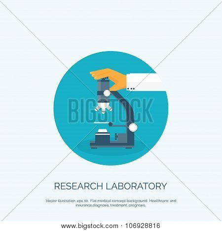 Vector illustration. Flat background with hand and microscope.