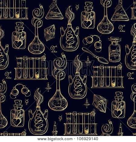 Seamless pattern of Alchemy Vintage Lab symbols.