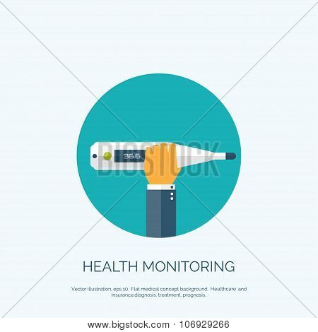 Vector illustration. Flat background with hand and  medical thermometer. First aid and diagnostic.