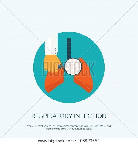 Vector illustration. Flat background with hand and lung. First aid, respiratory therapy.