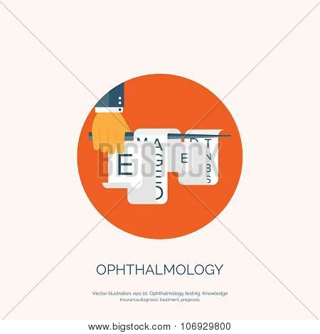 Vector illustration. Flat background with hand and eye test. Ophthalmology.