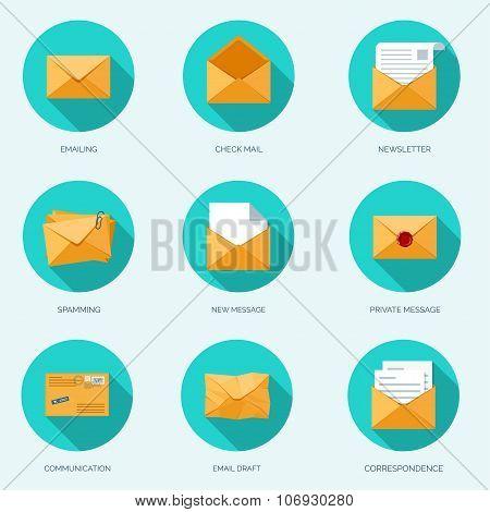 Vector illustration. Flat envelope. Emailing and global communication. Letter. Social network.
