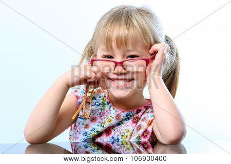 Funny Little Girl Wearing Glasses.
