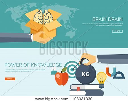 Vector illustration. Flat study backgrounds set.  Brain drain, power of education. Online education.