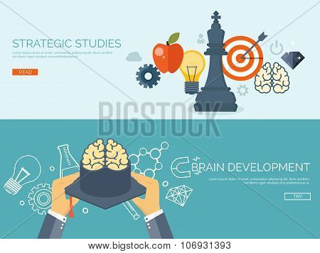 Vector illustration. Flat study backgrounds set.  Study aim and strategy. Academic cap, chess figure