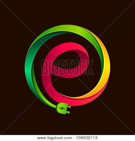 E Letter With Wire Plug Icon.