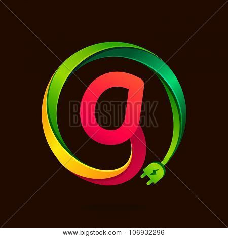 G Letter With Wire Plug Icon.