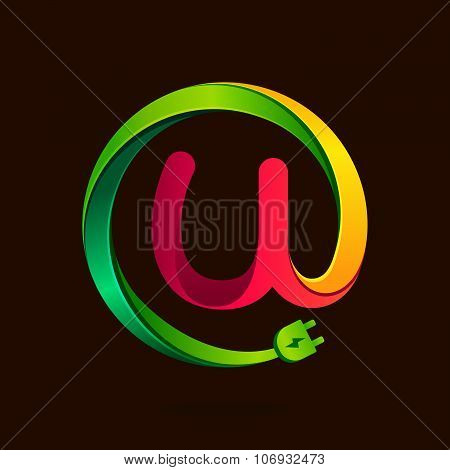 U Letter With Wire Plug Icon.