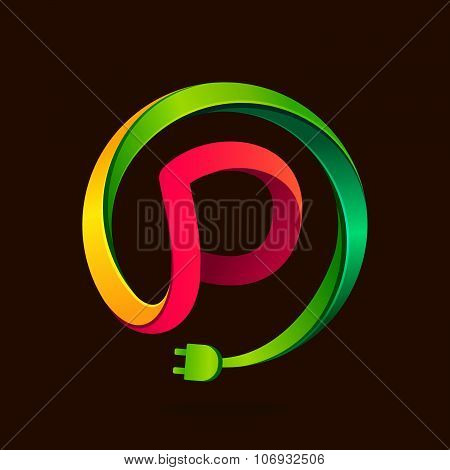 P Letter With Wire Plug Icon.