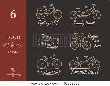 Set Vintage Cycling And Bicycle Sign And Badges