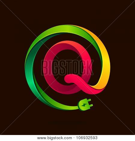 Q Letter With Wire Plug Icon.