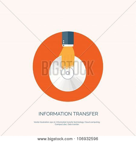Vector illustration. Flat background with hand and compact disk. Information transfer. Web storage c