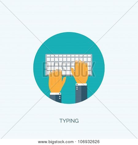 Vector illustration. Flat keyboard. Typing and chatting. Programming and coding.