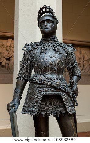 King Arthur old metal statue