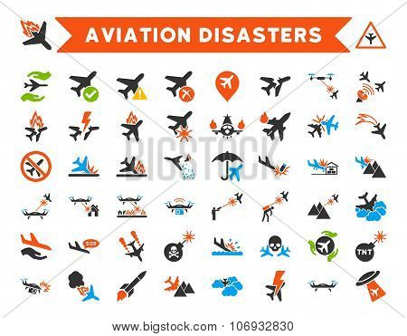Aviation Disasters Glyph Icons