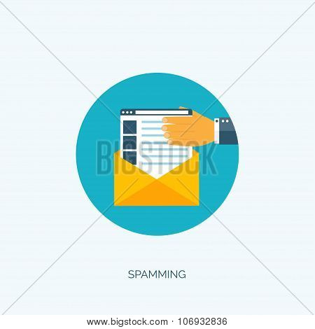 Vector illustration. Flat spamming background. Spam. Email. Global communication. Social network.