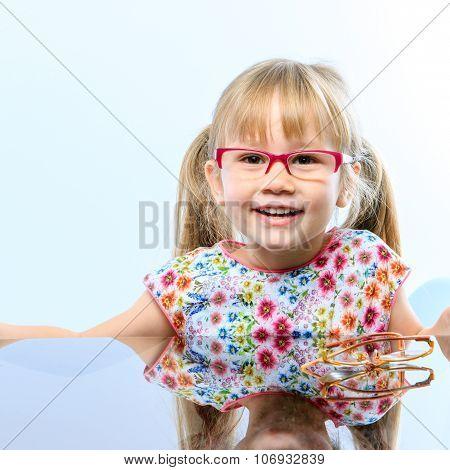 Little Girl With New Eyewear.