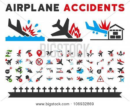 Aviation Accidents Glyph Icons
