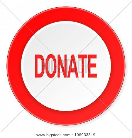 donate red circle 3d modern design flat icon on white background
