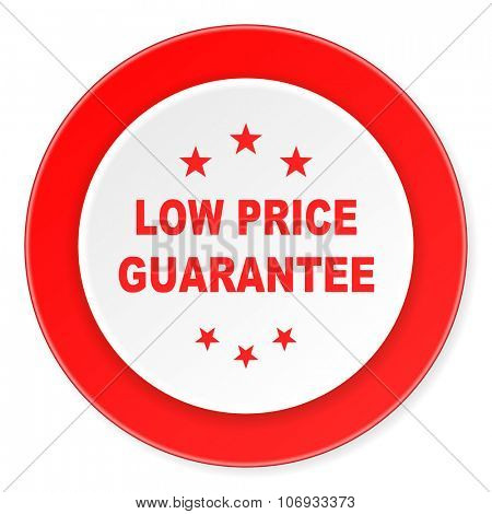 low price guarantee red circle 3d modern design flat icon on white background