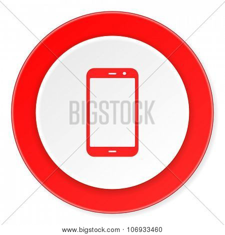 smartphone red circle 3d modern design flat icon on white background