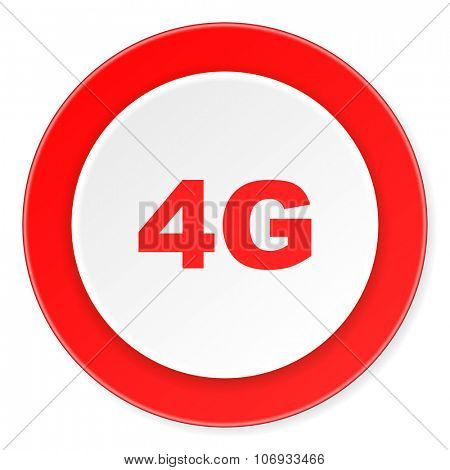 4g red circle 3d modern design flat icon on white background