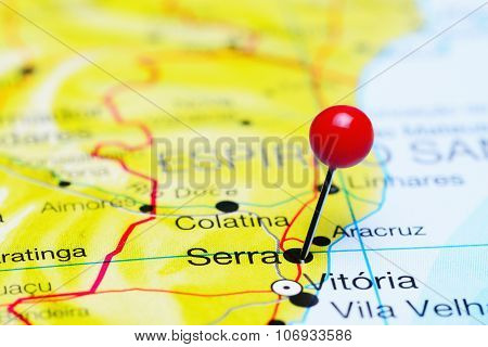 Serra pinned on a map of Brazil