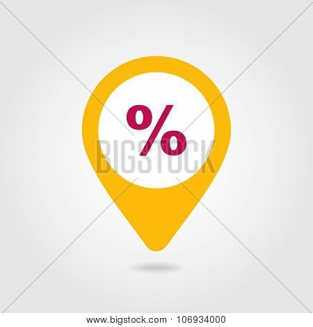 Percent Sale Pin Map Icon. Map Pointer, Markers.