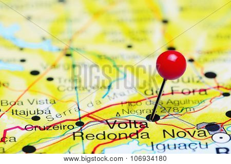Volta Redonda pinned on a map of Brazil
