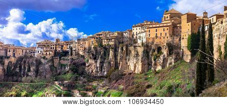 panorama of Cuenca - medieval town on rocks, Spain